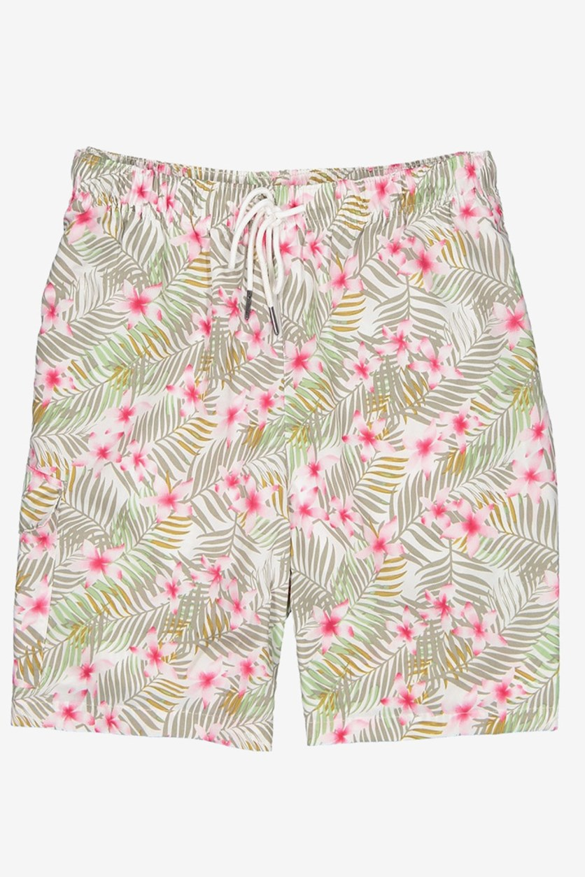 Men's Tropical Floral Print Swim Short, White Combo