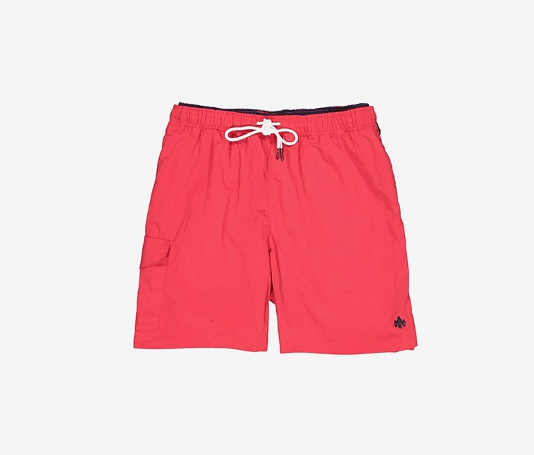 Men's Elastic Waist Side Pocket Swim Short, Red