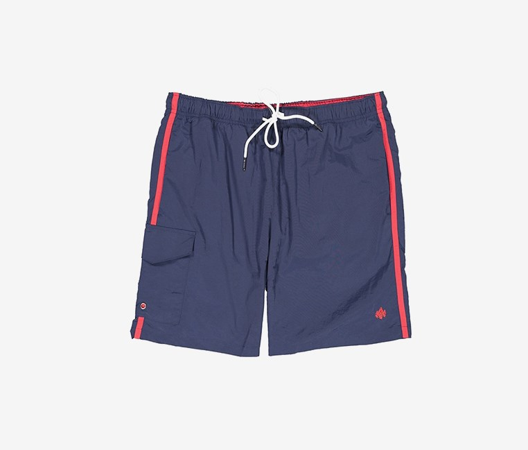 Men's Elastic Waist Side Pocket Swim Short, Navy
