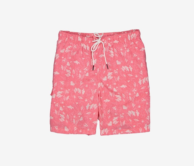 Men's Beach Print Swim Short, Pink