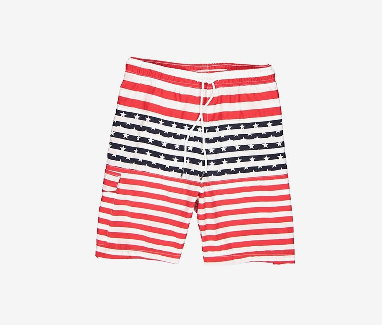 Men's Stripe Star Print Swim Short, Red/White