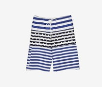 Rainforest Men's Stripe Star Print Swim Short, Blue/White