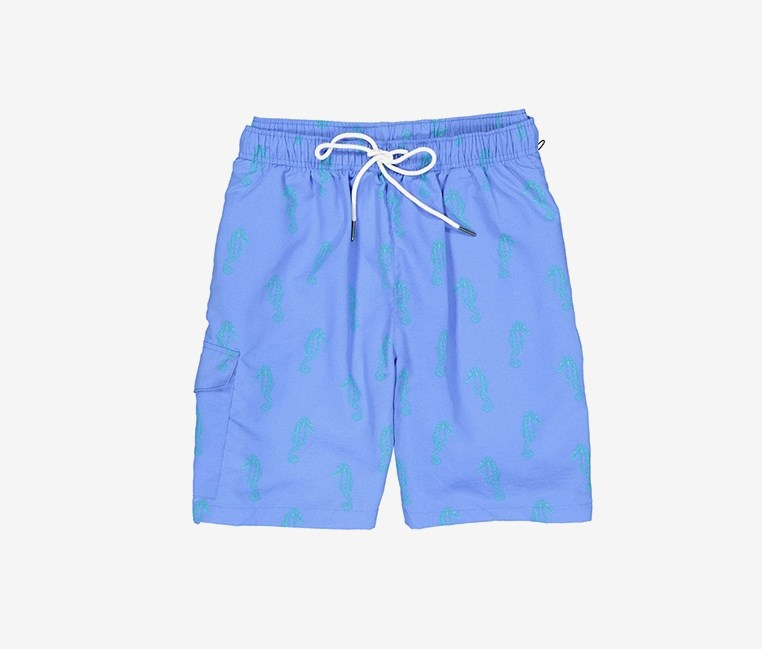 Men's Sea Horse Print Swim Trunks, Blue