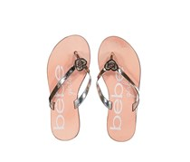 Bebe Girls Printed Slipper, Peach/Gold