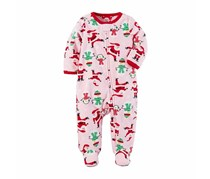 Carter's Santa-Print Footed Coverall, Pink/Red