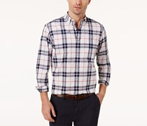 Club Room Men's Stretch Plaid Shirt, White/Navy