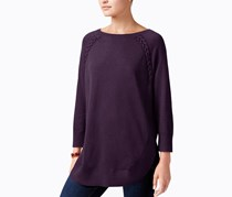 Style & Co Women Laced-Seam Tunic Sweater, Dark Grape