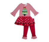 Rare Editions  Baby Girls 2-Pc. Striped  Holiday Tutu Tunic and Leggings Set, Red