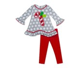 Rare Editions Baby Girl 2-Pc. Candy Cane Tunic and Leggings Set, Gray/Red