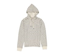 Men Striped Hoodie Sweatshirt Jacket, Beige Combo