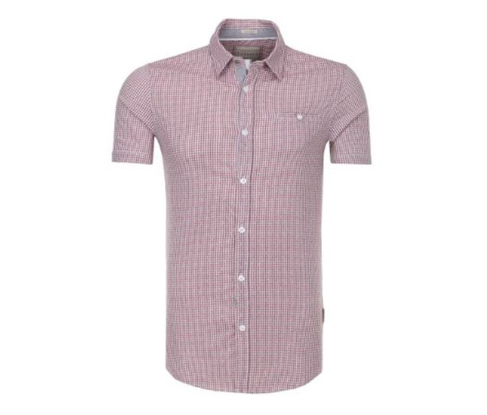 Men Check Stretch Shirt, Pink Combo