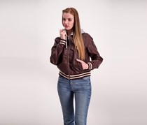 Madden Girl Women's Faux Leather Bomber w/ Detachable Hood Jacket, Walnut