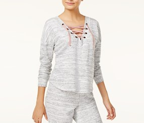 Ultra Flirt Women Convertible Lace-Up Sweatshirt, Heather Gray