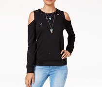 Almost Famous Womens Ripped Cold-shoulder Sweatshirt, Black
