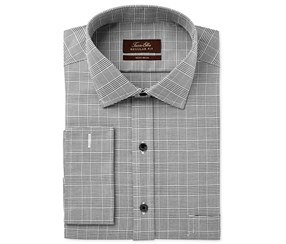 Tasso Elba Men's Classic Glenplaid Dress Shirt, Charcoal