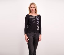 Guess Women's Printed Long Sleeve Top, Black