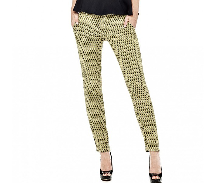 Women Allover Print Pants, Yellow