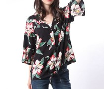 Guess Women's Floral Pattern Shirt, Black Combo