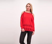 Guess Women's Cut-Out Shoulder Sweater, Red