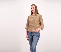 Guess Women's Perforated Pattern Sweater, Tan