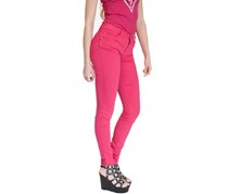 Guess Women's Curved Skinny Trouser, Dark Pink