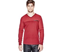 G by GUESS Men's Belton V-Neck Sweater, Red