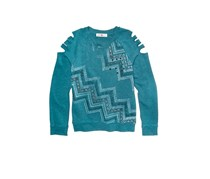 Kandy Kiss Girls Shredded-Sleeve Graphic Top, Teal