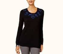 Charter Club Embellished-Neck Sweater, Deep Black