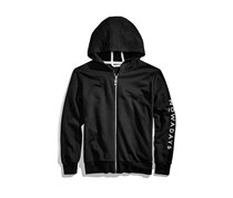Nowadays Girls Tween Zip-Up Hooded Sweatshirt, Black