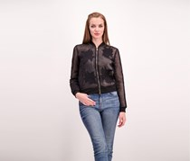 Guess Women's Mesh Bomber With Appliques, Black