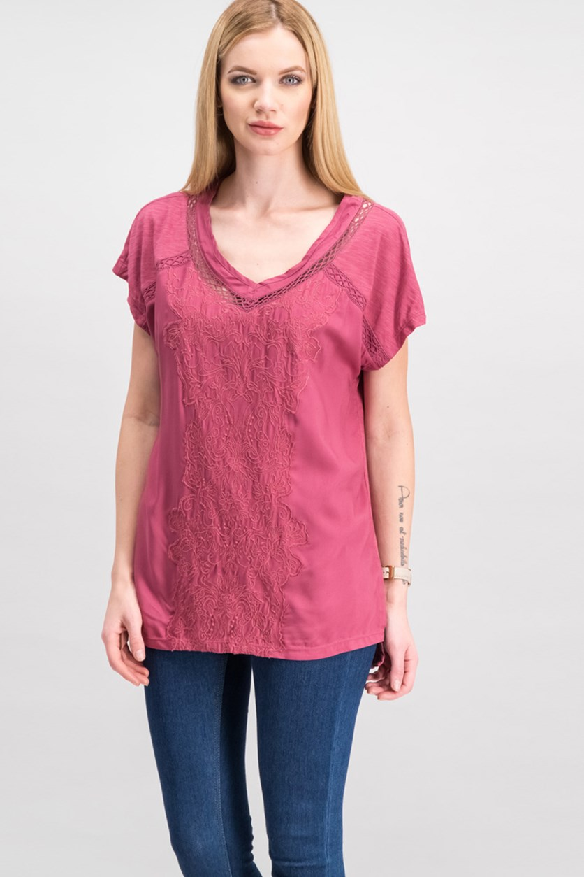 Women's Short Sleeve Embroidered Top, Dry Rose