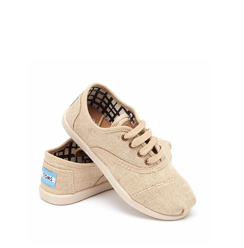 Youth Girls Natural Burlap Cordones, Natural