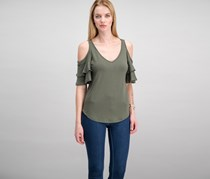 Crave Fame Juniors Ruffle-Sleeve Cold-Shirt, Olive