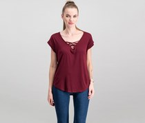 Almost Famous Juniors' High-low Lace-Up T-Shirt, Burgundy