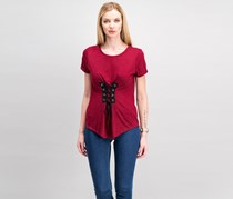 Almost Famous Juniors' Corset-Front High-Low T-Shirt, Merlot