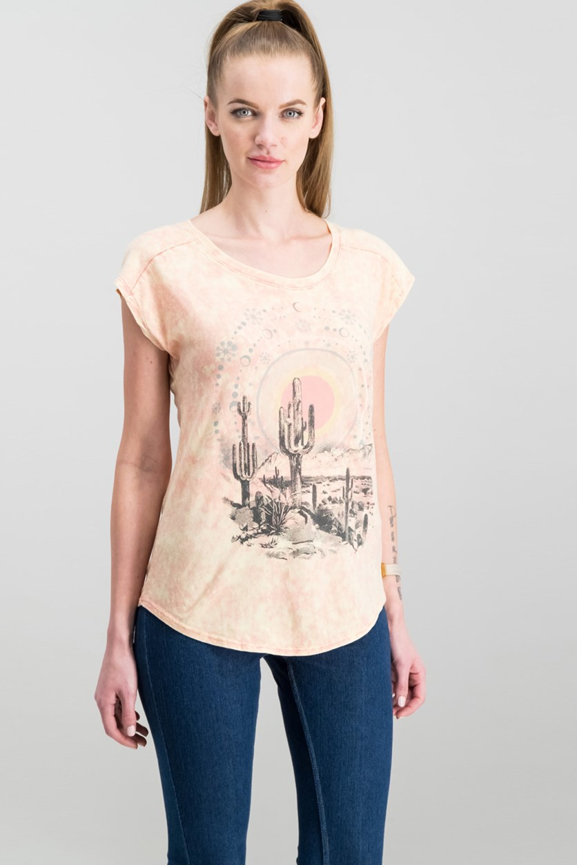 Desert Dreamer Graphic Top, Washed Peach