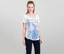 Lucky Brand Women's Peacock Graphic T-Shirt, Marshmallow