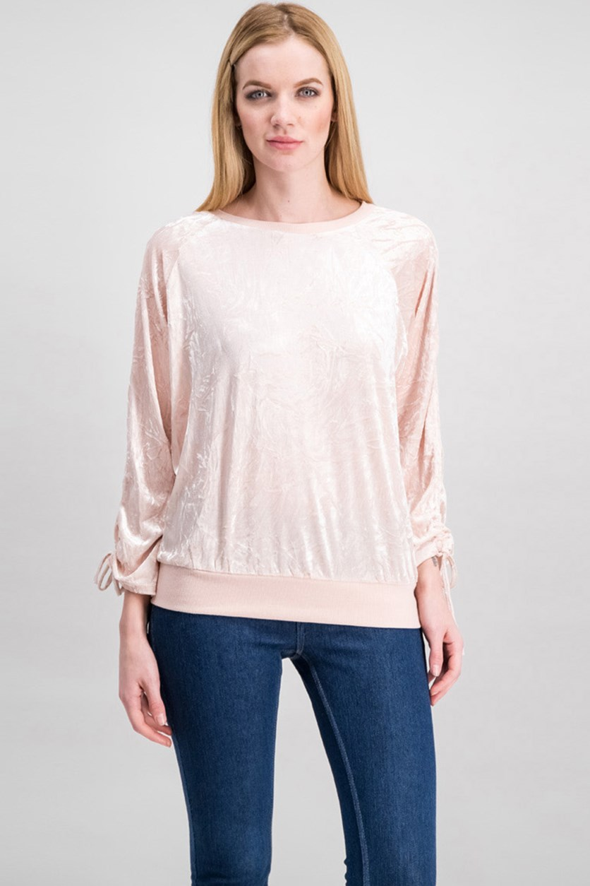 Women Juniors Crushed Velvet Sweater, Rose Smoke