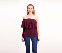Women One-Shoulder Ruffle Top, Burgundy