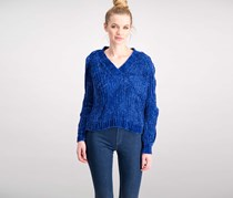 Marled Twist Cold-Shoulder Sweater, Cobalt