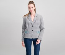 Women Notched Lapel Blazer, Grey/Ivory/Black