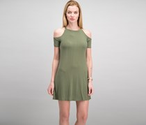 Bar III Pleated Cold-Shoulder Dress, Dusty Olive