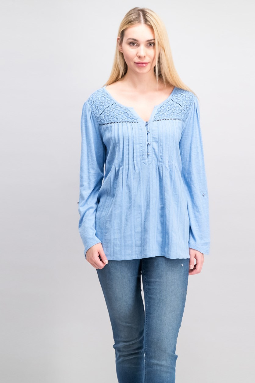 Ladies' Gauzy Zuri Top, Light Blue