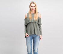 Kensie Women's Cold Shoulder Ruffled Blouse, New Olive