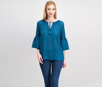 Kensie Women Striped Ruffle-Sleeve Top, Peacock