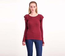 Lucky Brand Ribbed Ruffle Top, Maroon