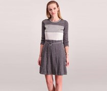 Calvin Klein Women Belted Dress, Silver/Grey/Black