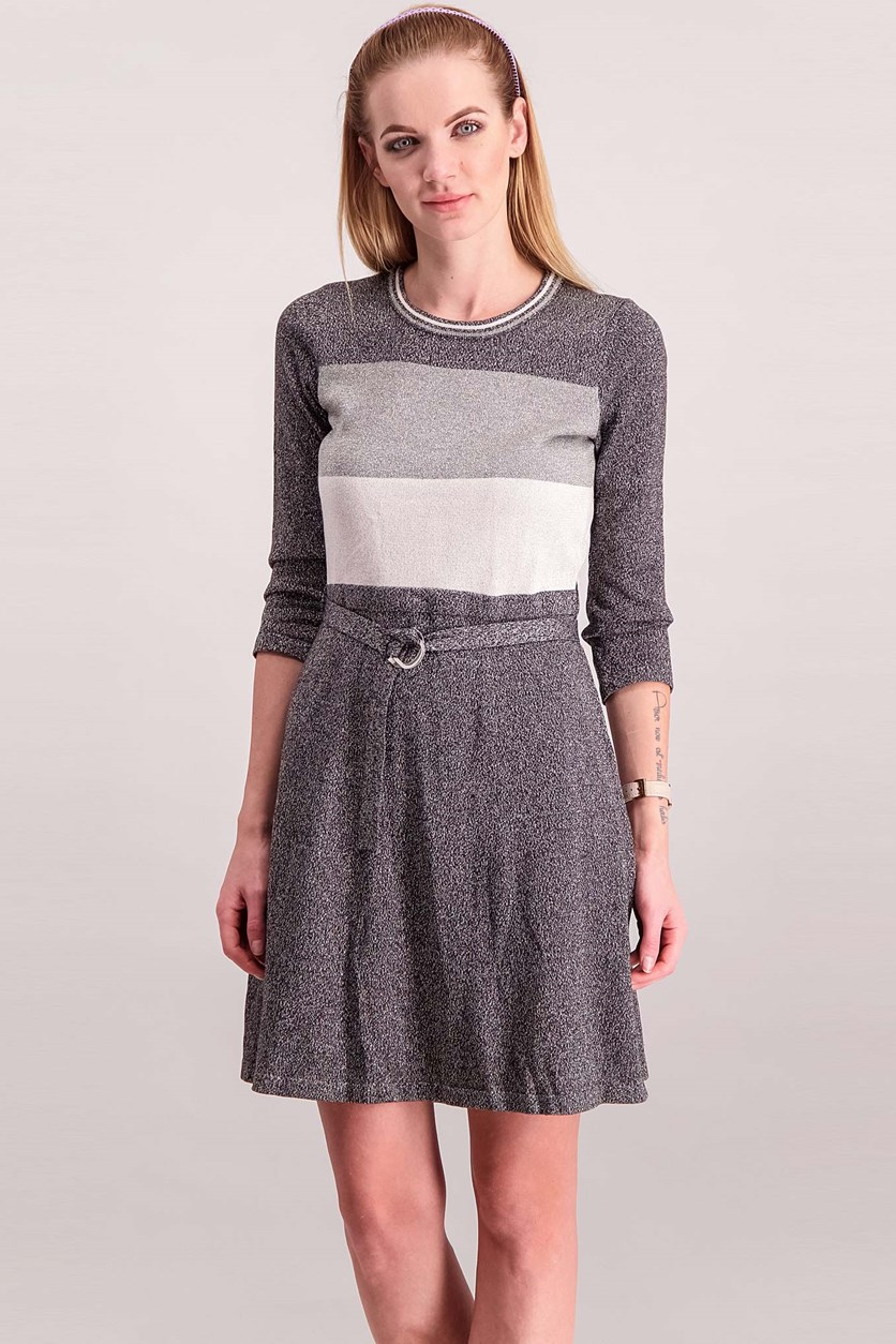 Women Belted Dress, Silver/Grey/Black