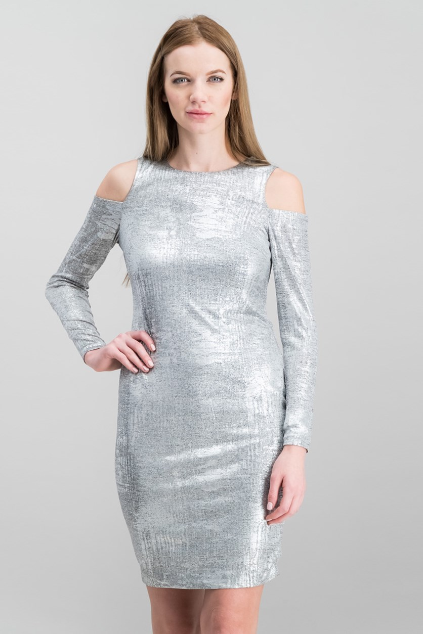 Women Petite Cold-Shoulder Sheath Dress, Silver