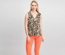 Calvin Klein Womens Cheetah Hardware Top, Black/Beige/Brown Combo